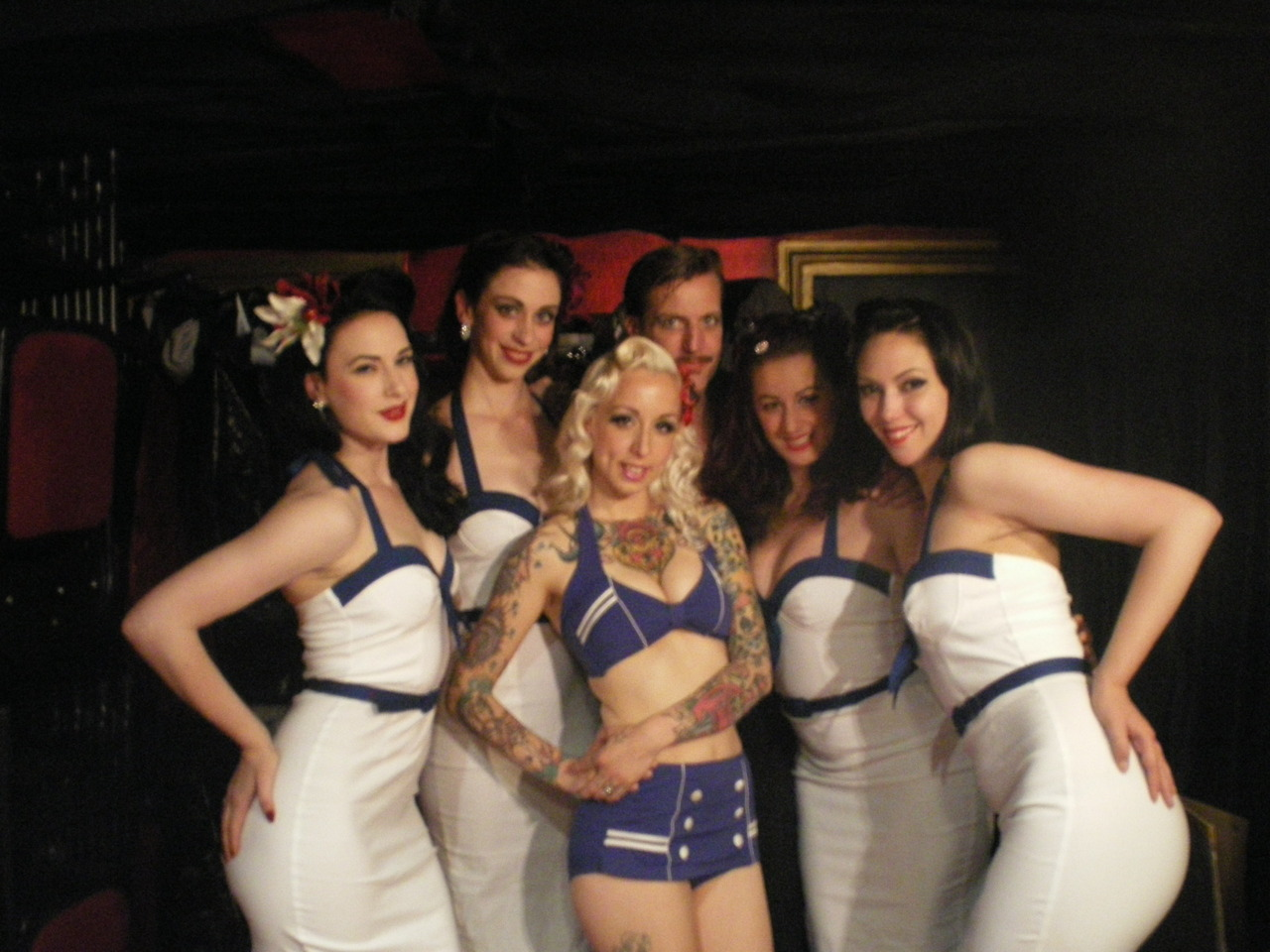 We had the pleasure of welcoming a new member to the House of Burlesque Shipwrecked family recently…Chi Chi Revolver! Us all hanging out backstage at Madame Jojos in our gorgeous PinUp Girl Clothing dresses - click on the photo to visit their website