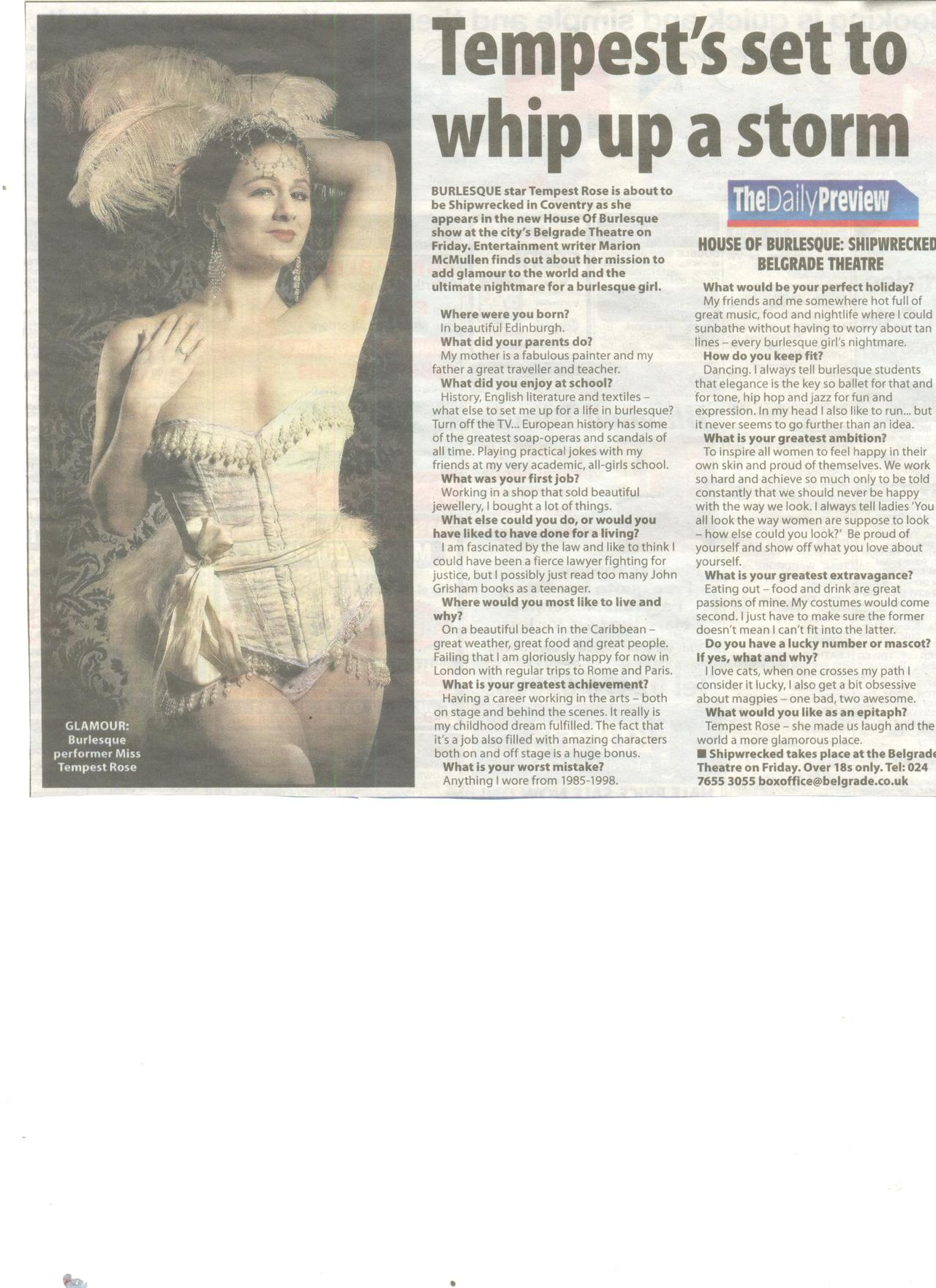 Some fabulous press before our Shipwrecked show at Coventry Belgrade this Friday
