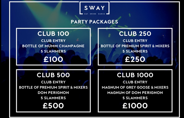 Sway Drinks Packages