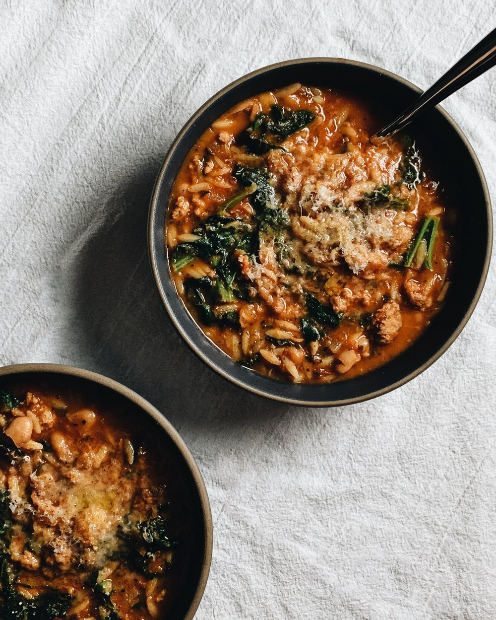 tomato and sausage soup with kale and orzo | italian enough