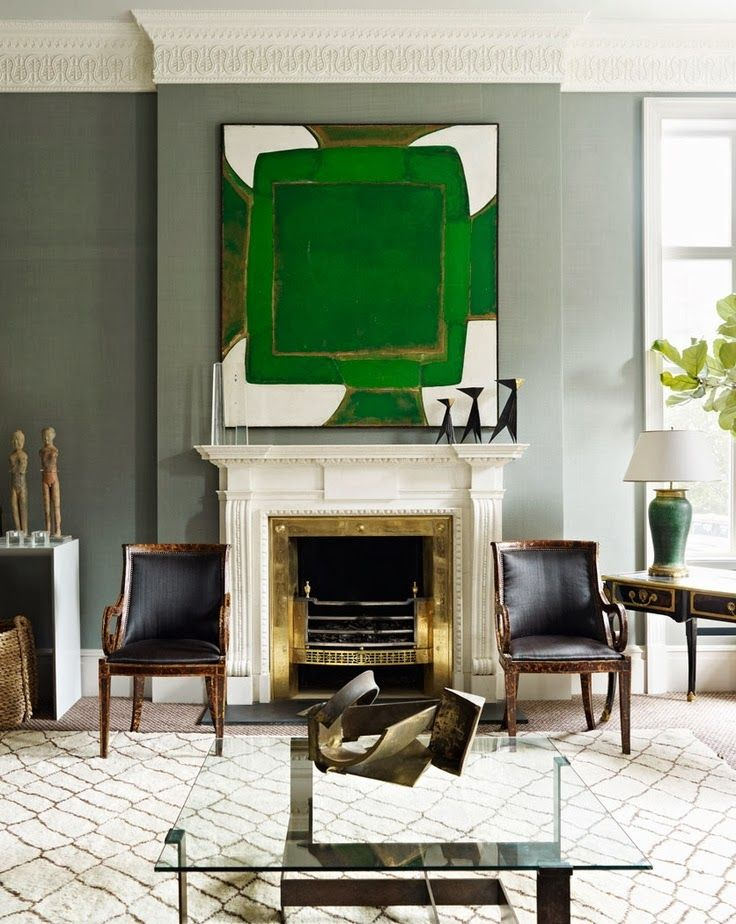 In a beautifully neutral room, why not add a bold - dramatic work of art?