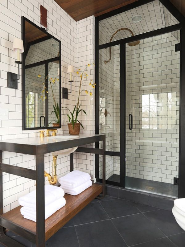 lodge luxe where rustic meets modern - Modern Rustic Shower