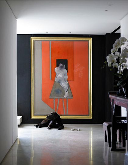 Another bold image of color. I love the scale of the artwork and the gold frame allowing the eye to see contrast with the dark wall.