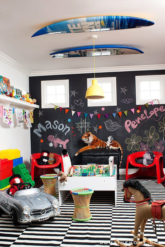 This room has personality! Love the contrast of black and white with primary colors. And this room suites both boys and girls with its theme.