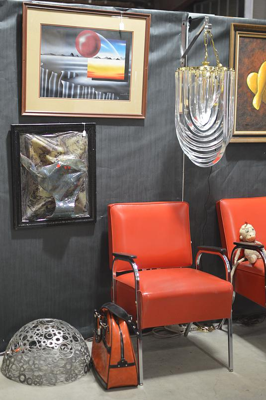 Antique modern side chairs and glass chandelier. Love the orange. My favorite color (today).