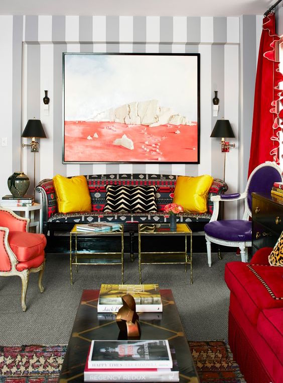 Sometimes color overload is exactly what you need! This room blends all of the key ingredients: color, pattern, scale, and contrast. Bohemian Chic.