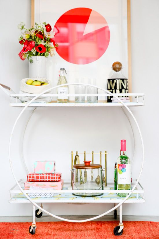 We have a bar cart similar to this one in our studio currently, just waiting for our 'pop up shop' to pop up. :)