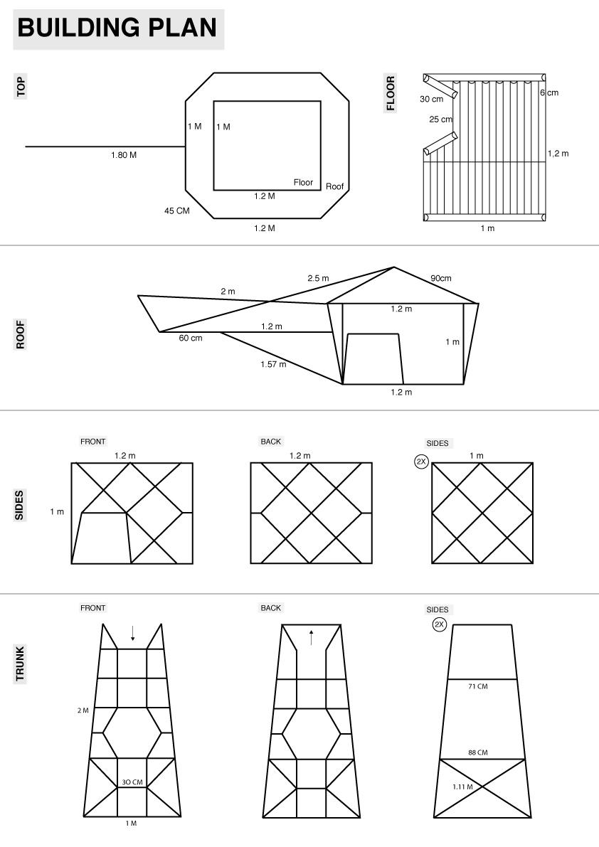 De bouwtekening hebben we zo simpel mogelijk gehouden zodat de vertaalslag met de Marokaanse ijzersmid zo gemakkelijk mogelijk verliep.