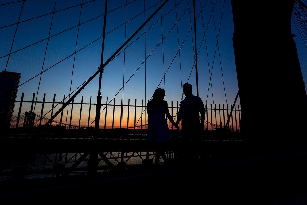 Brooklyn Bridge NYC Engagement Photo Shoot Session Photographer DUMBO Sunrise