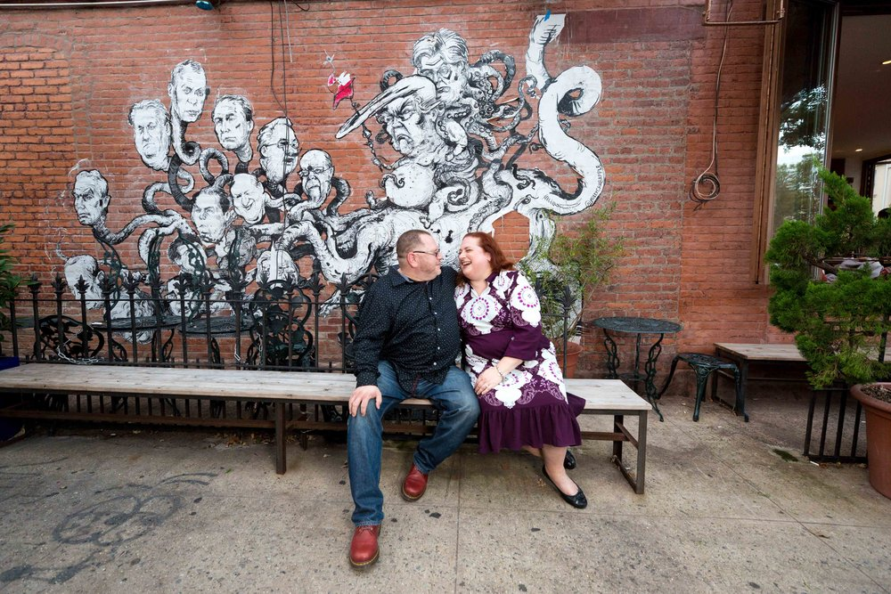 Williamsburg Engagement Shoot Rough Trade NYC Wedding Photographer Dave Gahan Depeche Mode