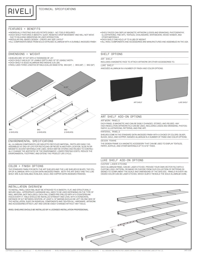 Riveli Shelving - Technical Specifications Sheet