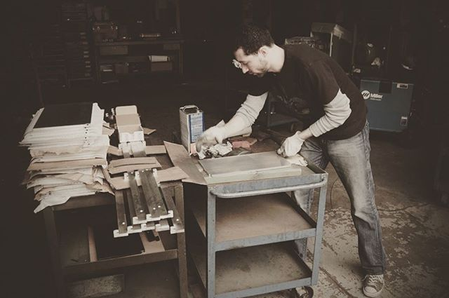 #tbt : Designer Mark Kinsley building the very first Riveli prototype in his father's garage. #handmade #aluminum #design