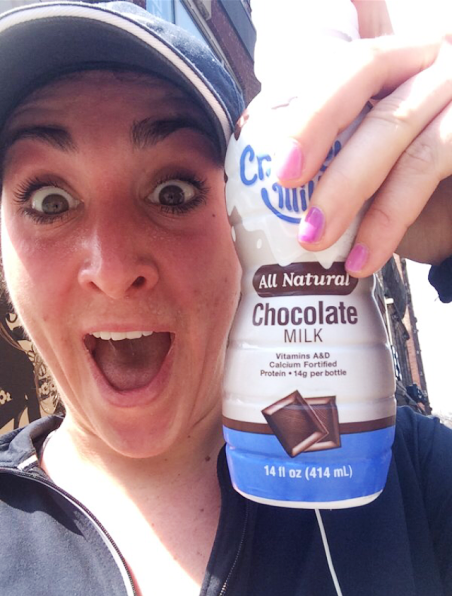 Taken on Sunday after my long run. So excited for some choco milk.  (note the sunburn. REAL cute.)