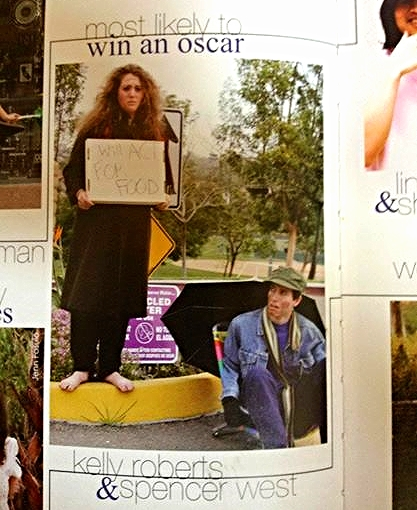 """My High School Legacy. They wanted to go """"red carpet"""" and I was all no way I have a better idea...This is me and my friend Spencer being bums. My sign says, """"Will Act For Food."""""""