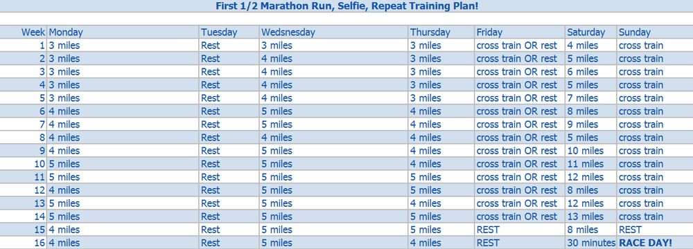 First Half Marathon Training plan