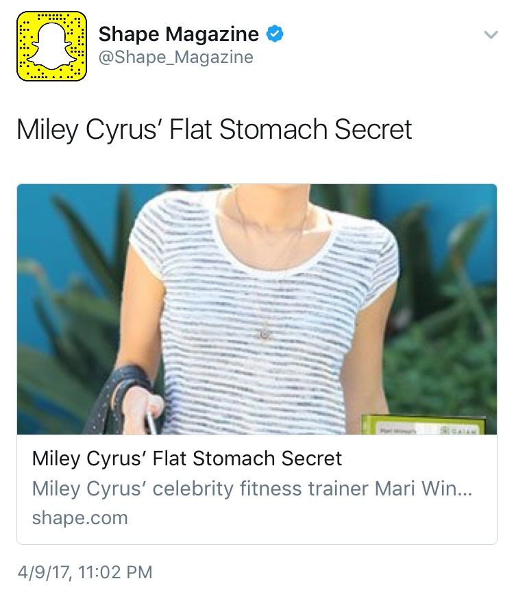 Can we not with  tweets like this one Shape Magazine ?