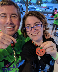 Me and my dad after my first 5k - it was a Halloween race