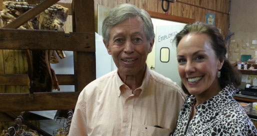 Allan Benton with Amy Campbell at Benton's Smokey Mountain Country Hams in Madisonville, TN.