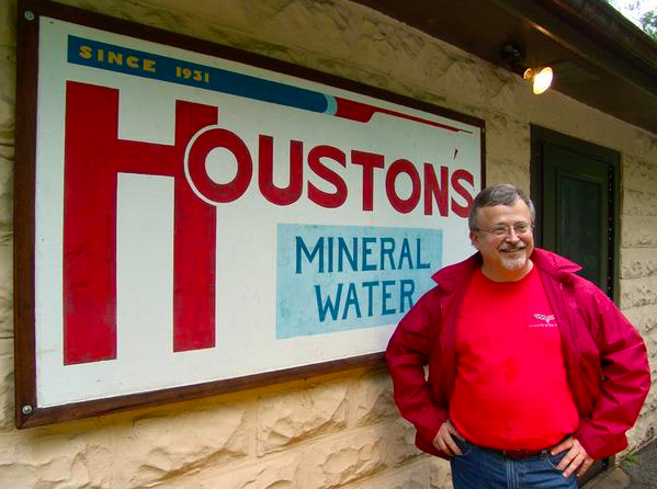 Bill Houston (W.C.Houston) standing outside of the well house at  http://www.houstonsmineralwater.com/