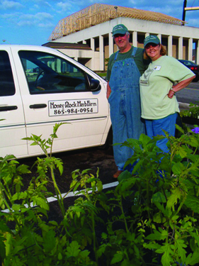 A photo of D. & Jim Brown, bee keepers and owners of Honey Rock Herb Farm, Louisville, TN.  http://www.honeyrockherbfarm.com/