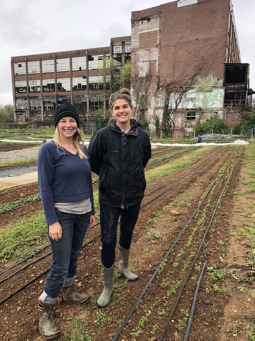 L - Rt. Carrie Gurley (Farm Manager), Brenna Wright (Owner, of  Abbey Fields Urban Farm , Knoxville, TN)