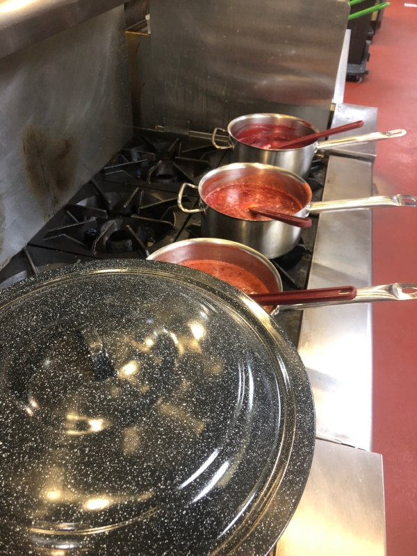 Strawberry jam being made in the University of Tennessee Culinary institute Preservation Kitchen.