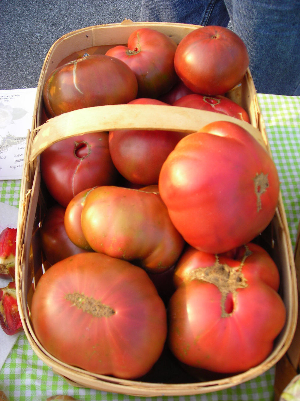 A gorgeous basket of home-grown, heirloom tomatoes grown by James Holder of Blount County, TN.
