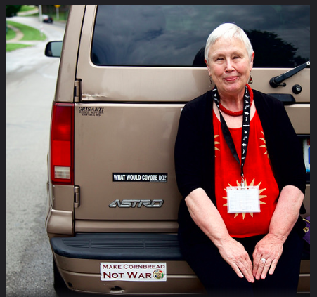 James Beard Award winning Food Writer Ronni Lundy with her trusty Astro van. http://ronnilundy.com/ Photo Credit: I found this from a Flicker Photo stream from the summer of 2018, I am looking for the author. Please tell me if this is you, so I may credit you.