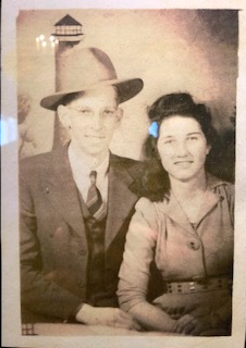 "Pictured are Aliceson Bales' Grandparents. ""Billy Ann King""(Aliceson's Grandmother), provider of this ""Apple Cake"" family recipe that Aliceson Bales shares on the podcast. Sorry this picture of the picture is not better. Here is the recipe below."