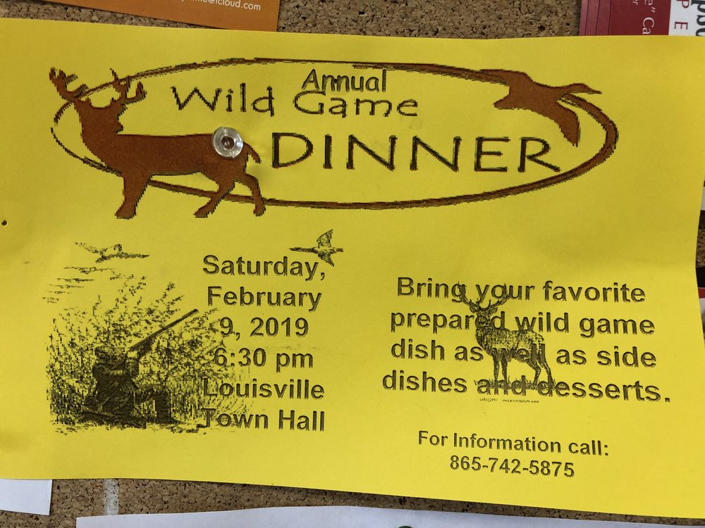 Poster for the Louisville, TN Wild Game dinner.