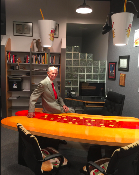 Pal Barger at his desk at Pal's World Headquarters in Kingsport, TN. Photo by way of Fred Sauceman.