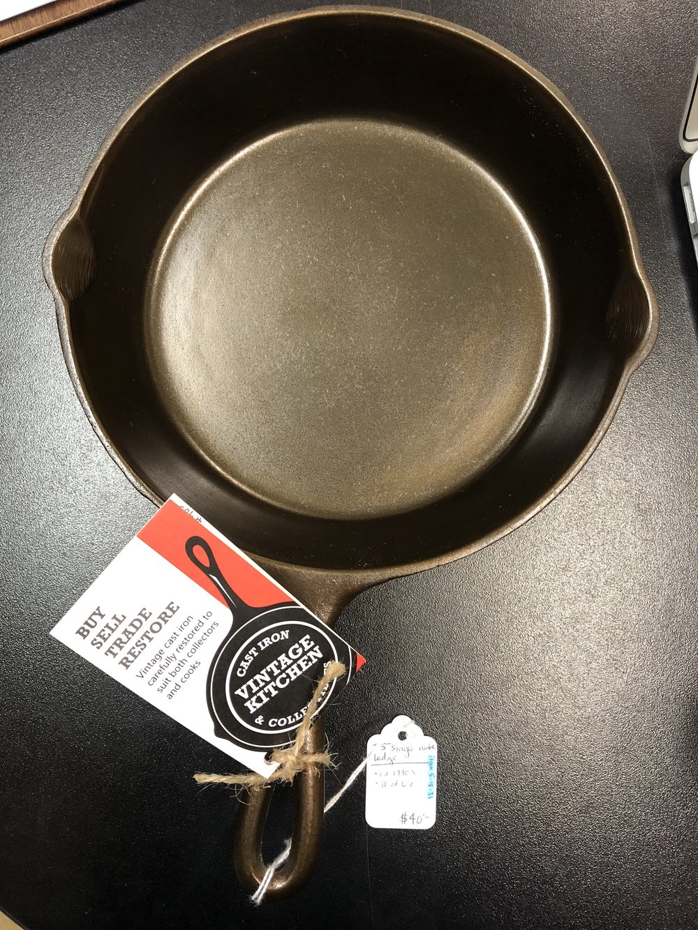 A cast iron pan from Vintage Kitchen Cast Iron and Collectables who will be hosting the Cast Iron Clinic Saturday, April 13th at Three Rivers Market, Knoxville. They conduct these Cast Iron Clinics several times a year in the Appalachian region connect with them at:  www.facebook.com/Vintagekitchencastiron/
