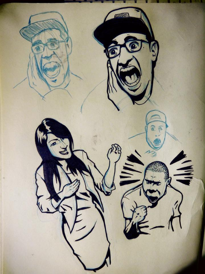 Freehand drawings using haunted house reactions as photo reference.