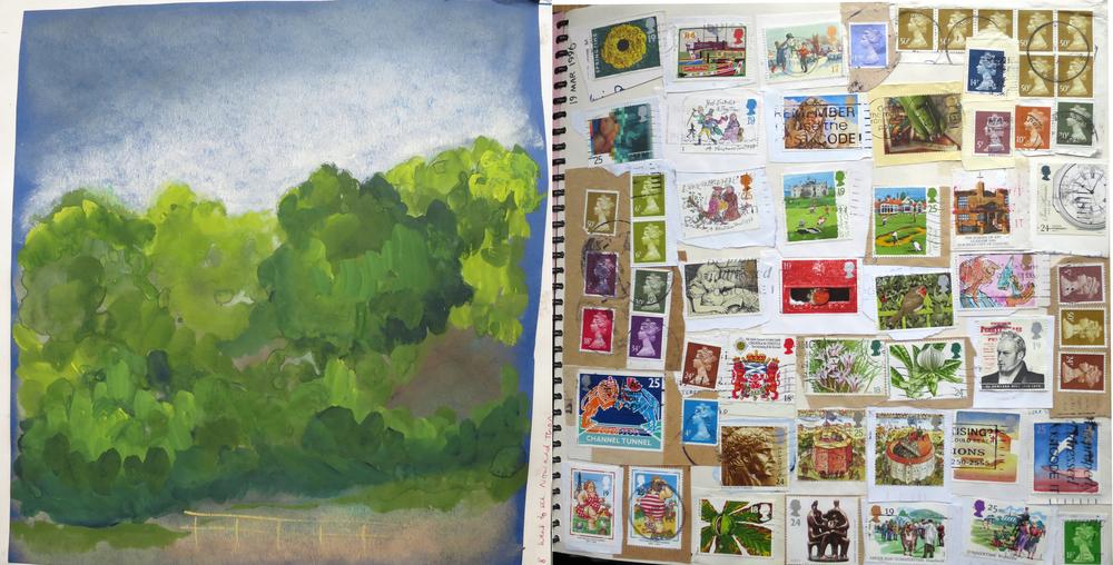 Gouache, pastel, stamps.