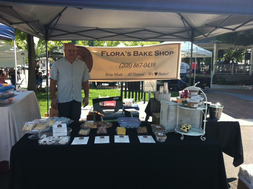 Harry working the samples at the Eagle Saturday Market