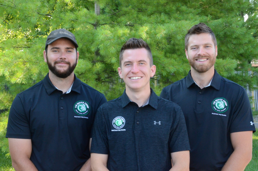 Jeremy Conley, Operations Director (Left), Matthew Kelly, President (Center), Kevin Thompson, Design-Build Director (Right)