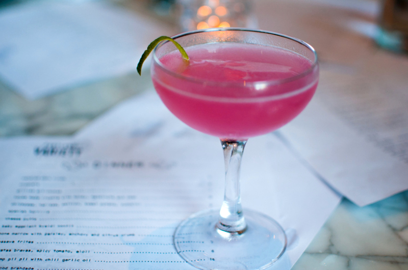 Portland Daiquiri - bacardi superior, fresh lime juice, hibiscus syrup, dash of hibiscus water