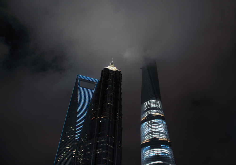 L-R: Shanghai World Financial Center, Jin Mao Tower, Shanghai Tower (tallest building in China with 121 stories, still under construction) in Pudong