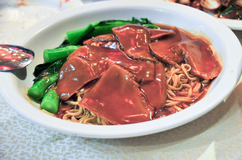 Mushrooms with abalone sauce and e-fu noodles