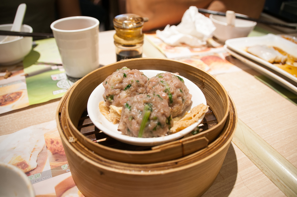 Steamed beef balls with bean curd skin