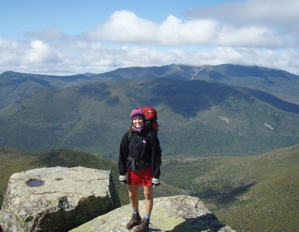 Me... actually on top of a hill (slash mountain)! (Oh how I miss New Hampshire!)
