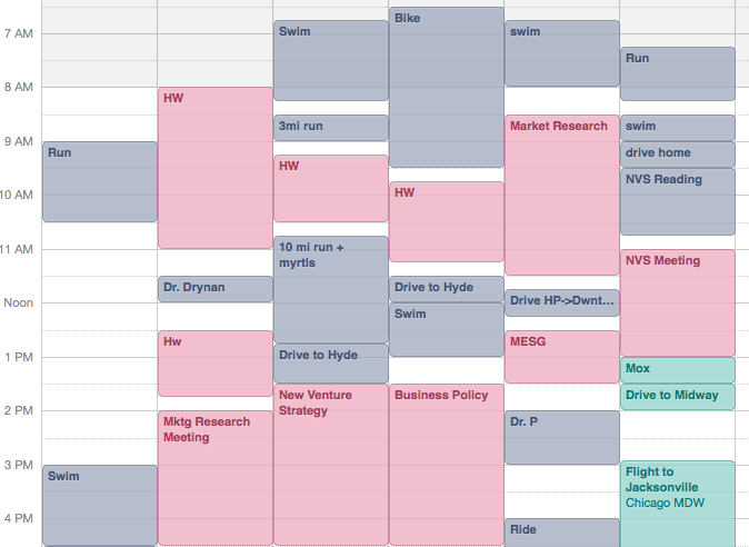 A snapshot of a recent week in my iCal -- blanks and drive time make my life way calmer!