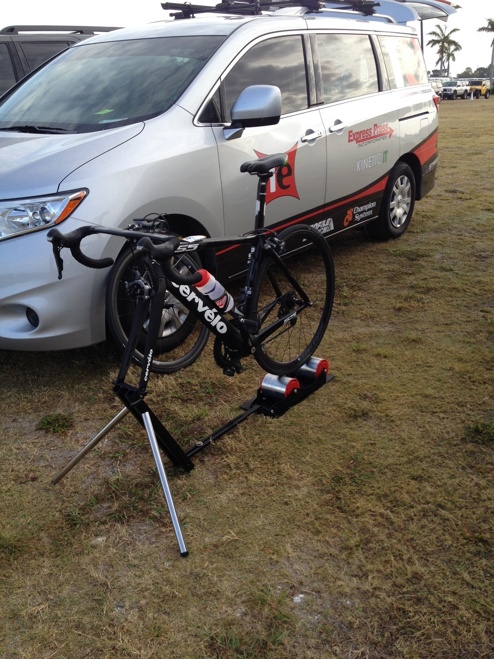 Pre-race warm-up on the bike -- thanks to Sport Crafters for the travel trainer!