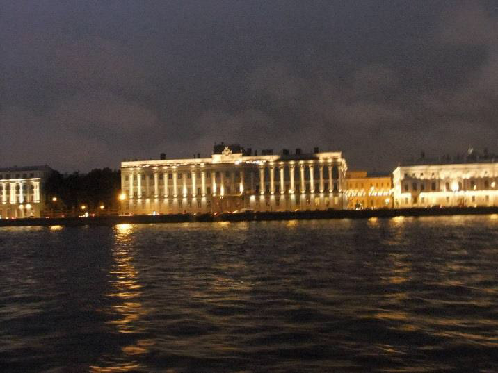 View from the Neva river at night, St. Petersburg.
