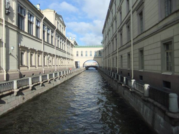 Canals aid with transport throughout St. Petersburg, Russia.