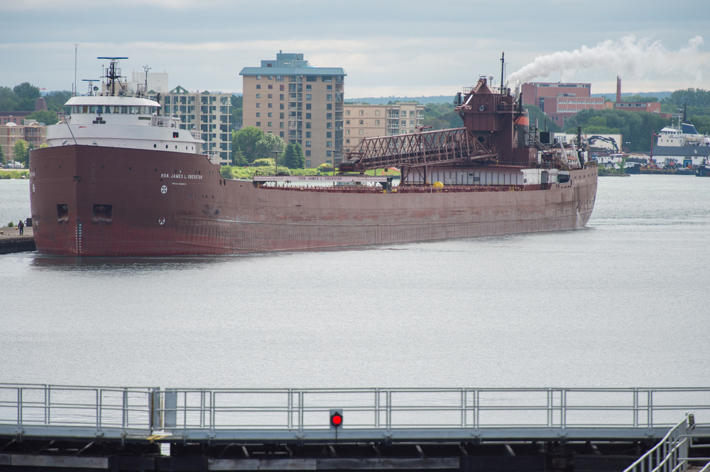 The freighter Hon. James L. Oberstar passes through the Sault St. Marie Locks in Michigan on Tuesday July 7, 2015. Photo by G.L. Kohuth