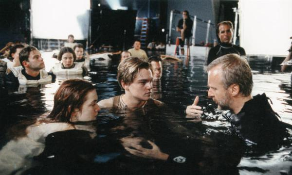 In the studio filming Titanic.