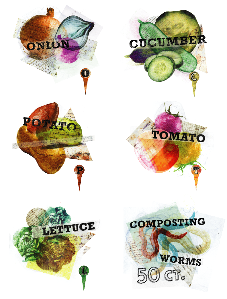 vegetable collages