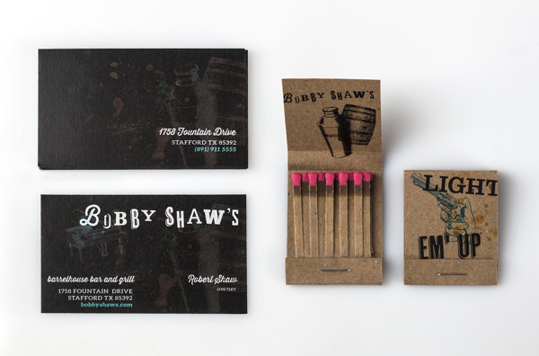 business cards and matches