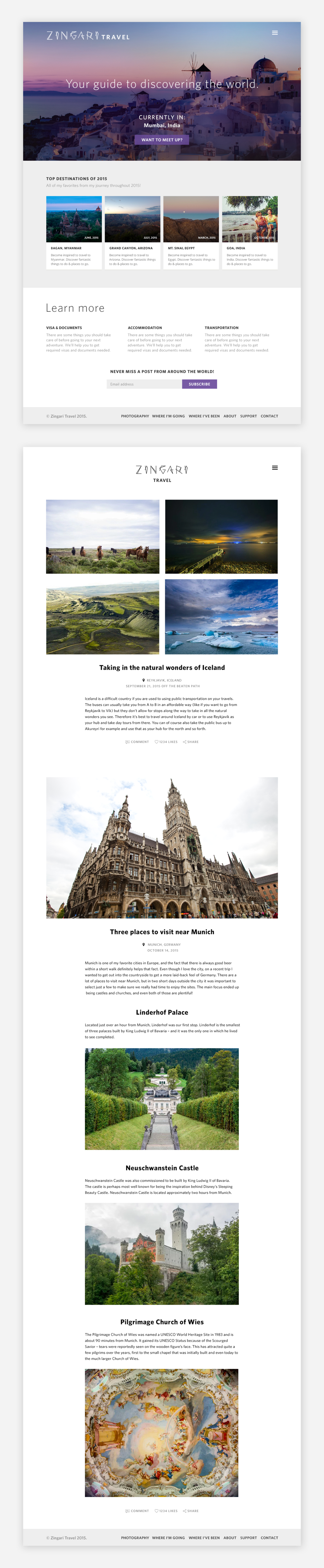 Zingari Travel Landing Page and Blog Post